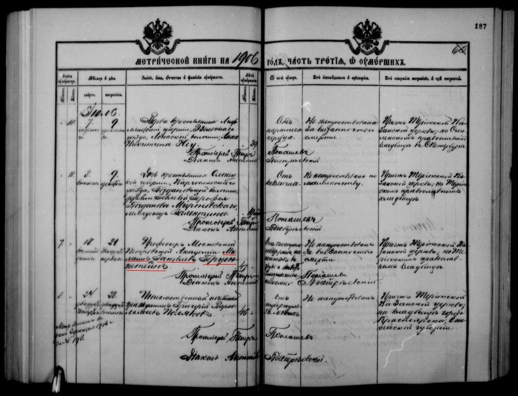 Запись о смерти и похоронах Герценштейна